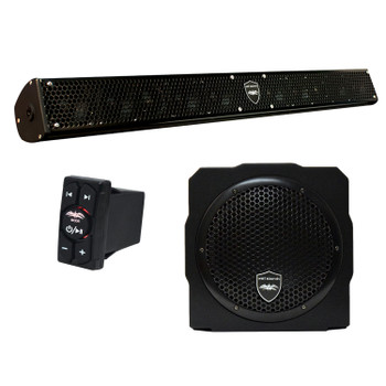 "Wet Sounds Stealth 10 Surge Sound Bar w/ WW-BTRS Bluetooth Rocker Switch and AS-8 8"" 350 Watt Powered Stealth Subwoofer"