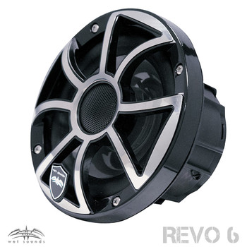 Wet Sounds REVO 6-XSB-SS Black XS / Stainless Grill 6.5 Inch Marine LED Coaxial Speakers with RGB LED Speaker Rings