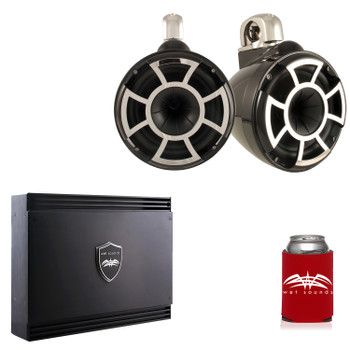 Wet Sounds REV10B-FC Black REV 10 Fixed Clamp Tower Speakers with Wet Sounds SD2 1250 Watt 2-channel Amplifier