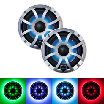Wet Sounds REVO 6-XSS Silver Open XS Grille 6.5 Inch Marine LED Coaxial Speakers (pair) with RGB LED Speaker Rings