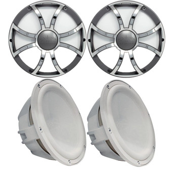 """Two Wet Sounds Revo 10"""" Subwoofers & Grills - White Subwoofers & Gunmetal Stainless Steel Grills - 4 Ohm"""