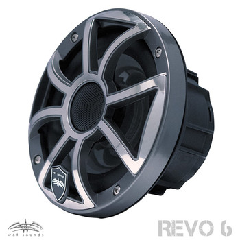Wet Sounds REVO 6-XSG-SS GunMetal XS/Stainless Grill 6.5 Inch Marine LED Coaxial Speakers with RGB LED Speaker Rings
