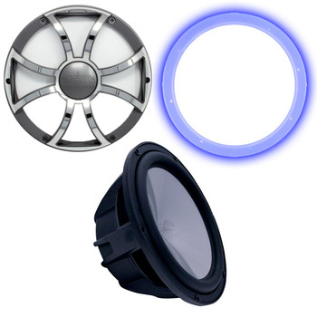 "Wet Sounds Revo 12"" Subwoofer, Grill, & RGB LED Ring - Black Subwoofer & Gunmetal  Steel Grill - 4 Ohm"
