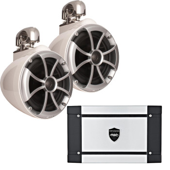 "Wet Sounds ICON8-WSC 8"" White Swivel Clamp Tower Speakers & Wet Sounds HT-2 600 Watt Amplifier"