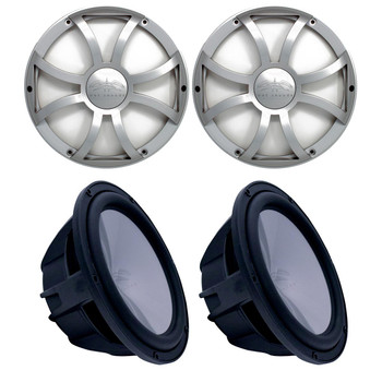 """Two Wet Sounds Revo 10"""" Subwoofers & Grills - Black Subwoofers & Silver XS Grills - 4 Ohm"""
