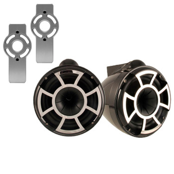 "Wet Sounds for Mastercraft 2007 & Up - REV10 10"" Black Tower Speakers & Mastercraft Tower Adapters"
