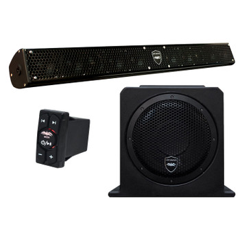 """Wet Sounds Stealth 10 Surge Sound Bar w/ WW-BTRS Bluetooth Controller and AS-10 10"""" 500 Watt Powered Stealth Subwoofer"""