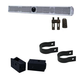 "Wet Sounds Stealth 10 Ultra HD White + UTV Mounting Kit, Slider bracket and Round 1.75"" Tube clamp"
