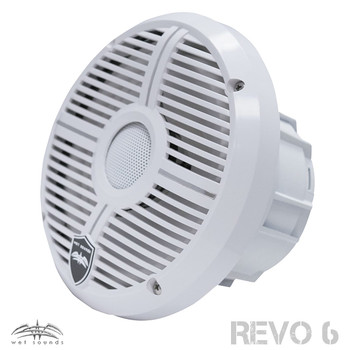 Wet Sounds REVO 6-XWW White Closed XW Grille 6.5 Inch Marine LED Coaxial Speakers (pair) with RGB LED Speaker Rings
