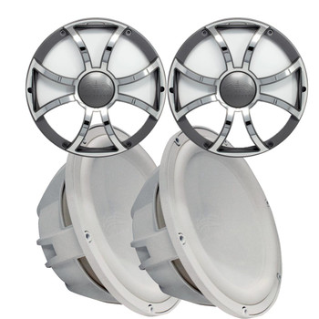 """Two Wet Sounds Revo 12"""" Subwoofers & Grills - White Subwoofers & Gunmetal Stainless Steel Grills - 2 Ohm"""