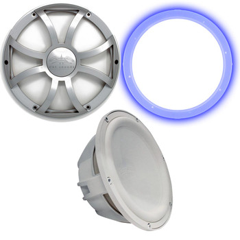 """Wet Sounds Revo 12"""" Subwoofer, Grill, & RGB LED Ring - White Subwoofer & Silver XS Grill - 4 Ohm"""