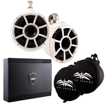 Wet Sounds White REV 10 Swivel Clamp Tower Speakers with Wet Sounds SD2 1250 Watt Amplifier & Suitz Speaker Covers