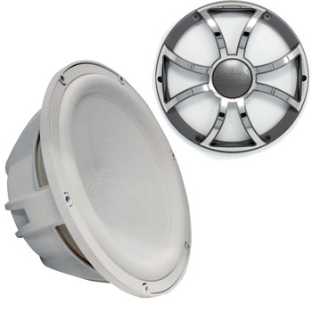"""Wet Sounds Revo 12"""" Subwoofer & Grill - White Subwoofer & Gunmetal Stainless Steel Grill - 4 Ohm"""