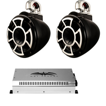"Wet Sounds 8"" Black Tower System: A Pair of REV8B-SC 8"" Tower speakers & SYN2 700 Watt Amplifier"