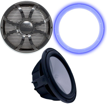 """Wet Sounds REVO12 High Power S4-B Revo 12"""" Sub with LED Ring & Grill - Black Subwoofer & Black Closed Face SW Grill"""