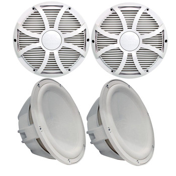 """Two Wet Sounds Revo 10"""" Subwoofers & Grills - White Subwoofers & White Closed Face SW Grills - 4 Ohm"""