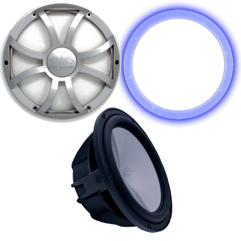 """Wet Sounds Revo 12"""" Subwoofer, Grill, & RGB LED Ring - Black Subwoofer & Silver XS Grill - 4 Ohm"""