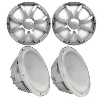 """Two Wet Sounds Revo 10"""" Subwoofers & Grills - White Subwoofers & Silver XS Grills - 4 Ohm"""