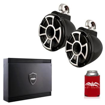 Wet Sounds REV10B-SC Black REV 10 Swivel Clamp Tower Speakers with Wet Sounds SD2 1250 Watt 2-channel Amplifier