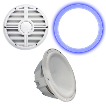 """Wet Sounds Revo 12"""" Subwoofer, Grill, & RGB LED Ring - White Subwoofer & White Closed Face XW Grill - 4 Ohm"""