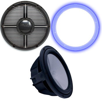 """Wet Sounds Revo 12"""" Subwoofer, Grill, & RGB LED Ring - Black Subwoofer & Black Closed Face XW Grill - 4 Ohm"""