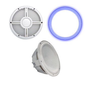 """Wet Sounds Revo 10"""" Subwoofer, Grill, & RGB LED Ring - White Subwoofer & White Closed Face XW Grill - 2 Ohm"""