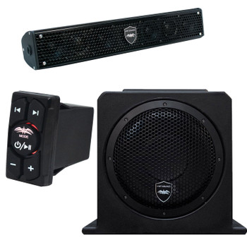 "Wet Sounds Stealth 6 Surge Sound Bar w/ WW-BTRS Bluetooth Controller and AS-10 10"" 500 Watt Powered Stealth Subwoofer"
