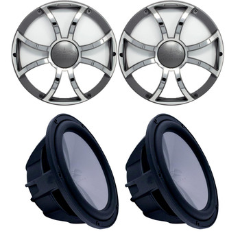 """Two Wet Sounds Revo 10"""" Subwoofers & Grills - Black Subwoofers & Gunmetal Stainless Steel Grills - 2 Ohm"""