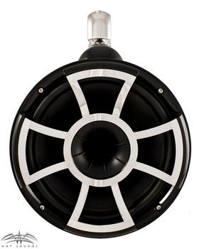 Wet Sounds REV 10 Swivel Clamp Tower Speakers with Wet Sounds LEDKITREV10-RGB RGB LED Speaker Rings - Black