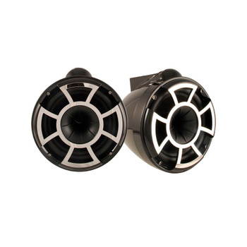 "Wet Sounds for Mastercraft 2007 & Up - REV10 10"" Black Tower Speakers & Mastercraft Tower Adapters & HTX4 Amplifier"