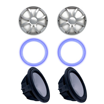"""Two Wet Sounds Revo 10"""" Subwoofers, Grills, & RGB LED Rings - Black Subwoofers & Silver XS Grills - 2 Ohm"""