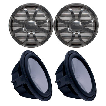 "Two Wet Sounds Revo 10"" Subwoofers & Grills - Black Subwoofers & Black Closed Face SW Grills - 2 Ohm"