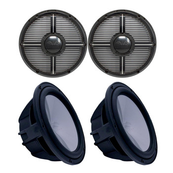 "Two Wet Sounds Revo 10"" Subwoofers & Grills - Black Subwoofers & Black Closed Face XW Grills - 4 Ohm"