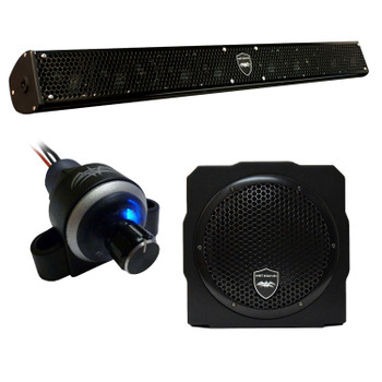 "Wet Sounds Stealth 10 Surge Sound Bar w/ WW-BTVC Bluetooth Volume Controller and AS-8 8"" 350 Watt Powered Subwoofer"