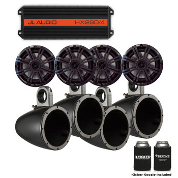 "JL Audio HX280/4 Powersports Amp with Pair of Kicker KMTES speaker enclosures and OEM 6.5"" Kicker Marine Speakers"