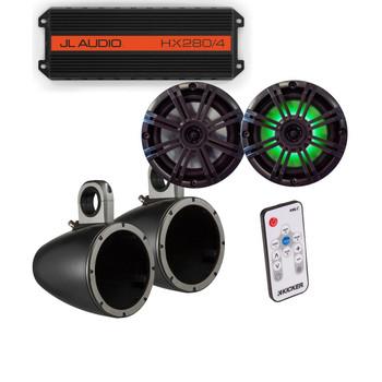 "JL Audio HX280/4 Powersports Amp with Kicker KMTES speaker enclosure and LED OEM 6.5"" Kicker Marine Speakers"