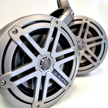 "JL Audio MX 6.5"" Titanium Black Sport Grille Wake Tower / UTV Speaker System in Kicker KMTES Enclosures"