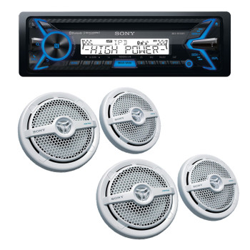 """Sony MEX-M100BT High Power Bluetooth Marine Receiver with two pairs of XS-MP1621 White 6.5"""" Speakers"""