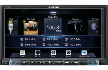 Alpine iLX-207 compatible with Apple Car Play & Android Auto,  Rear View Camera + License Plate Frame, Trigger Module