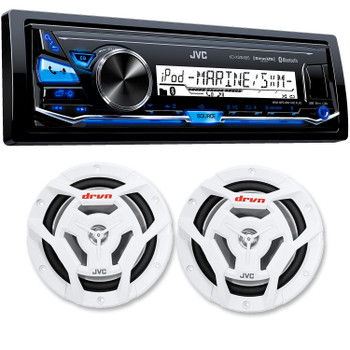 """JVC KD-X33MBS Mechless Bluetooth Marine Radio and a pair of JVC CS-DR6201MW 6.5"""" White Marine Coaxial Speakers"""