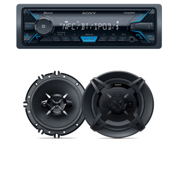"Sony DSX-A405BT Bluetooth, USB, AUX Receiver, and pair of XS-FB1630 6.5"" 3-Way Coaxial Speakers"