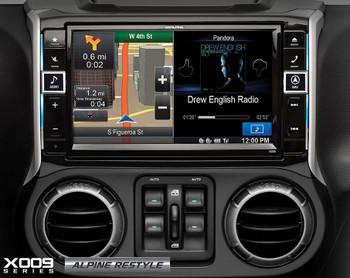 "Alpine Restyle - X009-WRA 9""  Multimedia system, HCE-TCAM1-WRA Spare Tire Rear View Camera & PSS-21WRA Full Sound Sytem"