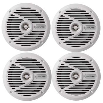 """Alpine SPS-M601W 6-1/2""""  Marine Coaxial 2-Way Marine Speaker Bundle"""