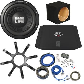 "Bass Package - Alpine Bassline 12"" Subwoofer w/ box, DUB 200 watt amp,  Wiring Kit, and Alpine Grille"