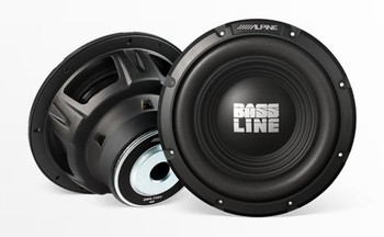 "Bass Package - Alpine Bassline 12"" Subwoofer w/ box, DUB 200 watt amp,  Wiring Kit, and Alpine Grille"