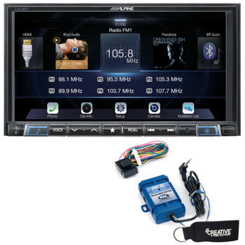Alpine iLX-207 compatible with Car Play & Android Auto Receiver With Steering Wheel Interface & Trigger Module