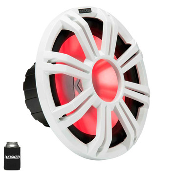 """Kicker KM124 12"""" Marine Subwoofer with LED White Grill 4 Ohm for Sealed Applications"""