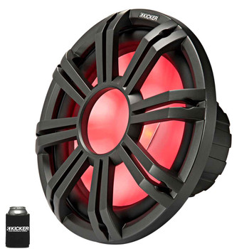 """Kicker KM124 12"""" Marine Subwoofer with LED Charcoal Grill 4 Ohm for Sealed Applications"""