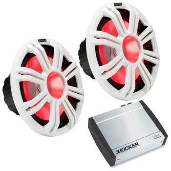"Kicker - Two KM124 12"" White Colored Marine Subwoofers with KXM12001 1200-Watt Marine Amplifier"