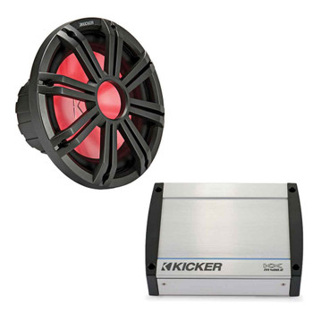 "Kicker Charcoal KMF124 12"" Marine Free-Air Subwoofer Bass Kit with KXM4002 Amplifier 400 Watt at 4 Ohm"